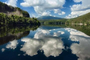 Alpine Lake Dramatic Sky Reflection