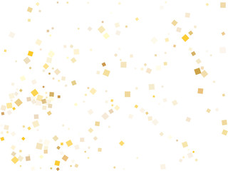 Gold foil confetti party glitter space. Square particles party background.