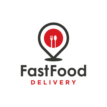 Pin food delivery Map location. Delivery logo concept