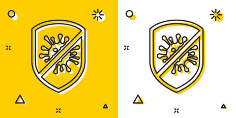Black Stop virus, bacteria, germs and microbe icon isolated on yellow and white background. Antibacterial and antiviral defence, protection infection. Random dynamic shapes. Vector Illustration