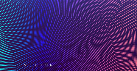 Abstract background. Technology style. 3d network design with particles. Vector illustration. Cover design template. Can be used for advertising, marketing, presentation.