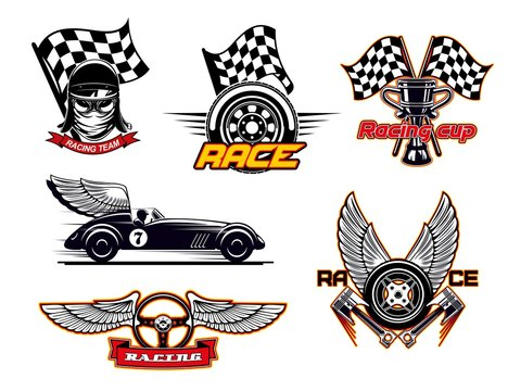 Racing sport club, motor cars, flag icons