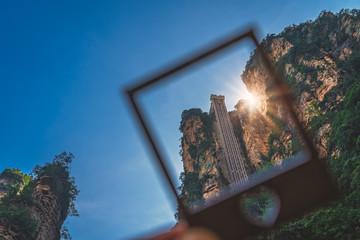 Framed image of a Bailong Elevator lift