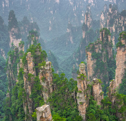 Stone pillars of Tianzi mountains