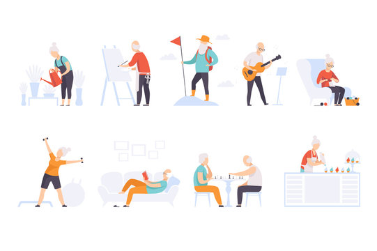 Elderly people enjoying various hobbies, senior men and women leading an active lifestyle social concept vector Illustration on a white background
