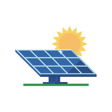 Solar panel and sun on a white background
