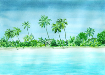 Poster Light blue Watercolor landscape of tropical paradise with sea, beach, palms