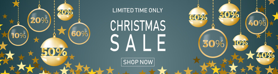 Christmas holiday sale on blue background with star. Limited time only. Template for a banner, shopping, discount. Vector illustration for your design