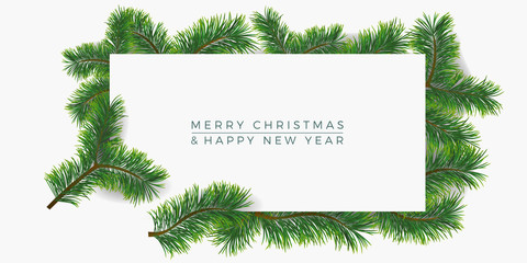 Christmas background with fir branches. Vector illustration with frame and copy space