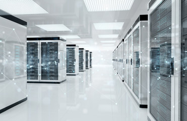 Connection network in servers data center room storage systems 3D rendering Fototapete