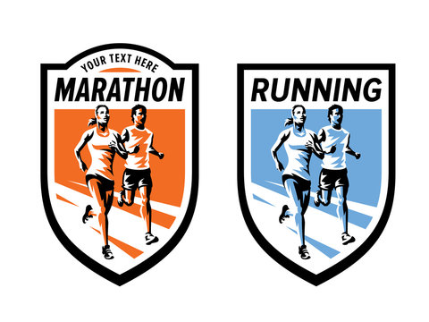 Marathon running sports and fitness logo set. Vector illustration with running woman and man. Badge design