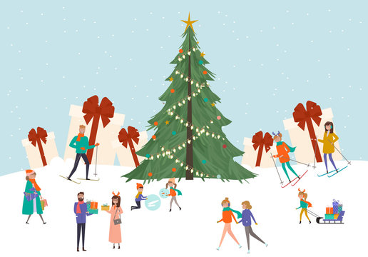 Tiny people around a Christmas Tree. Christmas scene with people on the street, sledding, skiing. Merry Christmas greeting card. Vector Illustration.