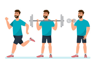 set of man exercise in the gym on a white background