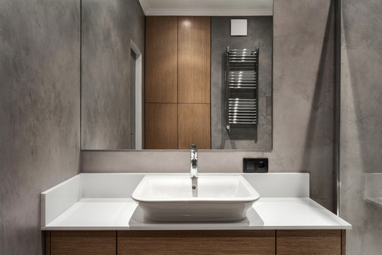 Modern interior of new bathroom in house