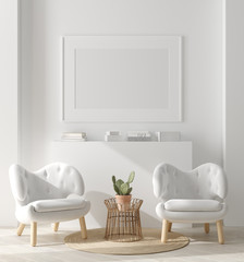 Mock up poster, mock up wall in home interior, Scandinavian style, 3d render