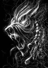 Terrible toothy monster roars in rage with an open mouth . 2D illustration .