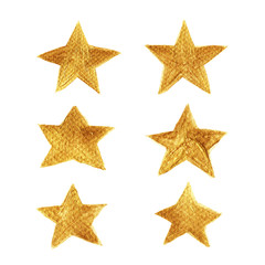 Golden star hand painted collection isolated on white background