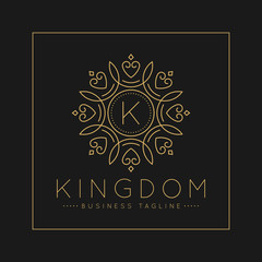 Letter K Logo with classic and Luxurious line art ornament style vector
