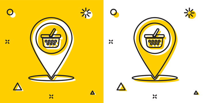 Black Map pointer with shopping basket icon isolated on yellow and white background. Pin point shop and shopping. Supermarket basket symbol. Random dynamic shapes. Vector Illustration