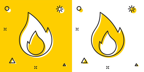 Black Fire flame icon isolated on yellow and white background. Heat symbol. Random dynamic shapes. Vector Illustration