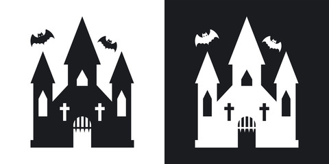 Witch castle silhouette, halloween illustration. Two-tone vector icon on black and white background