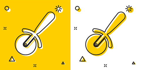 Black Pizza knife icon isolated on yellow and white background. Pizza cutter sign. Steel kitchenware equipment. Random dynamic shapes. Vector Illustration