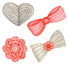 Close up Crochet gray heart, bow, red flower hand made concept. Watercolor Hand drawn hobby Knitting and Crocheting element set on white background.