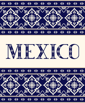 Mexico ceramic floral letters typography vector. Mexican talavera tile ornament background. Illustration concept for travel design, food label, tourist banner, fiesta party or flyer template.