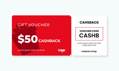 Gift voucher card 50% cashback template design with coupon code promotion text vector illustration