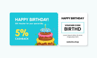 Birthday gift voucher card template design. 5% cashback coupon code promotion with birthday cake artwork background vector illustration.