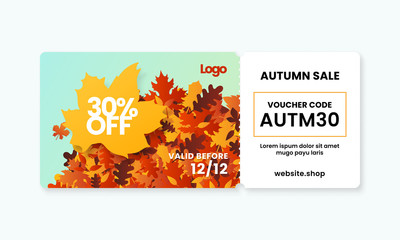 Autumn sale fall season gift voucher card template design with coupon code on dry leaves background vector illustration