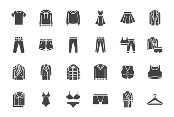 Clothes, Fashion Silhouette Icons. Vector Illustration Included Icon as Jacket, Winter Coat, Sweatshirt, Dress, Hoody, Jeans, Hanger and other Apparel Flat Pictogram for Cloth Store