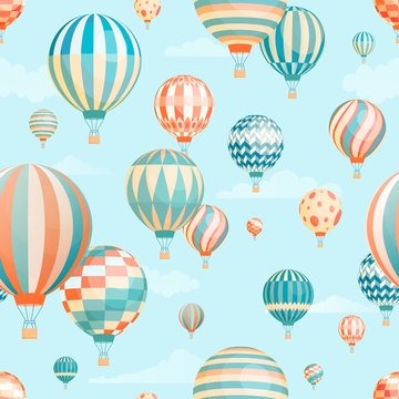Air balloons in sky vector seamless pattern