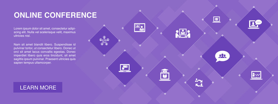 online conference banner 10 icons concept.group chat, online learning, webinar, conference call icons