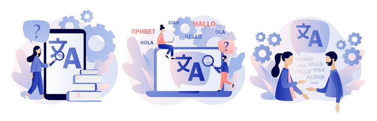 Translation concept. Online translator. Modern flat cartoon style. Vector illustration