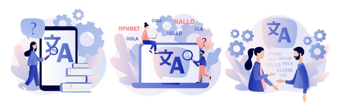 Translation concept. Online translator. Modern flat cartoon style. Vector illustration