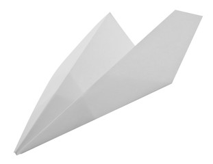 White paper plane isolated on white background