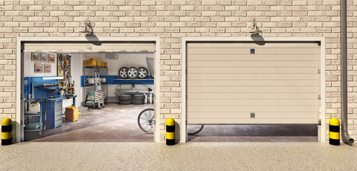 Wall Mural - Garage with two roller doors, look outside, 3d illustration