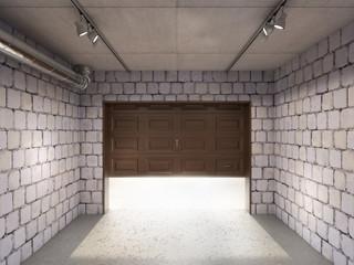 Wall Mural - Empty garage with open door and sunlight, 3d illustration