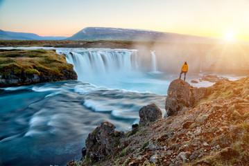 amazing Godafoss waterfall in Iceland during sunset, Europe Fototapete