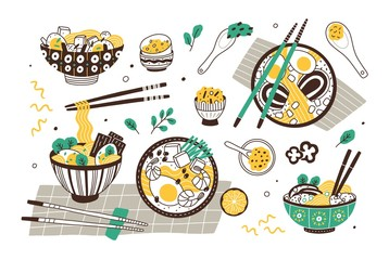 Ramen soup hand drawn vector illustrations set. Traditional oriental dish, noodles bowls with chopsticks. National japanese cuisine restaurant menu design elements. Eastern food, delicious dinner.