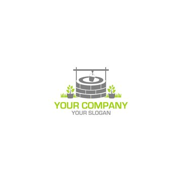 Nature Old Well Logo Design Vector