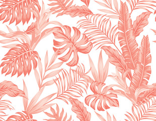 Wall Mural - Living coral tropical leaves flowers seamless white background