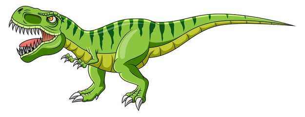 Cartoon green dinosaur on white background Fotomurales