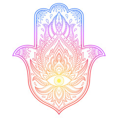 """Colorful Hamsa hand drawn symbol with flower. Decorative pattern in oriental style for interior decoration and henna drawings. The ancient sign of """"Hand of Fatima"""". Rainbow design on white background."""