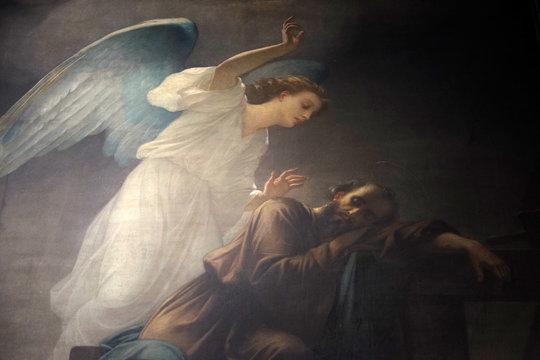 Joseph's dream, fresco in the Saint Sulpice Church, Paris, France