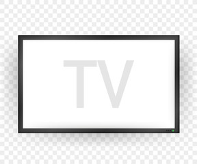 TV, modern blank screen. Lcd tv screen. Vector illustration.