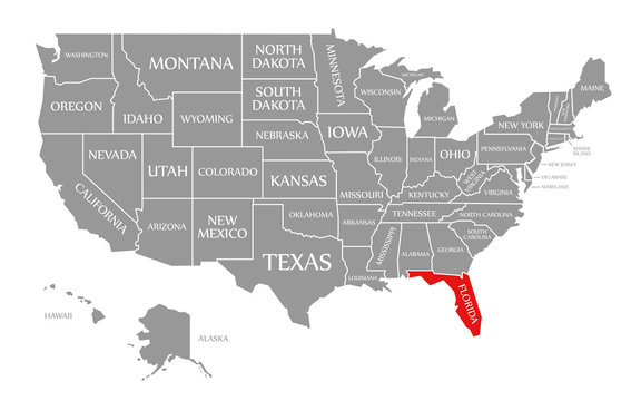 Florida red highlighted in map of the United States of America