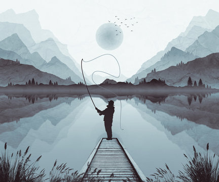 Mountain landscape illustration, with moonlight and mist in valley. Fly fishernan on jetty.