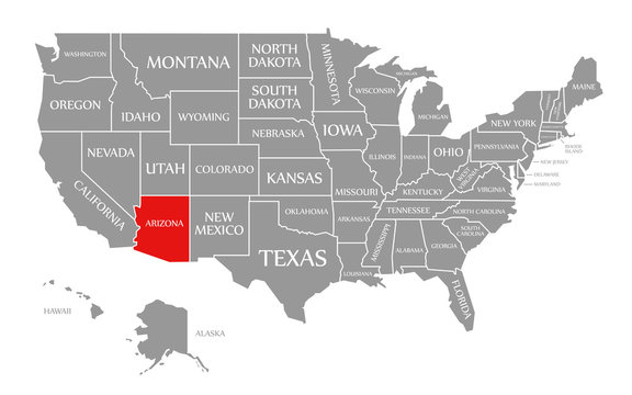 Arizona red highlighted in map of the United States of America